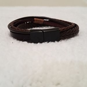 Brown Magnetic Leather Men's Bracelet